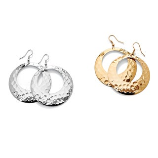 2 Pair Hammered-Style Hoop Earrings Set in Yellow Gold Tone and Silvertone Tailored