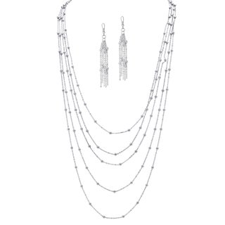 2 Piece Station Necklace and Earrings Set in Silvertone Tailored