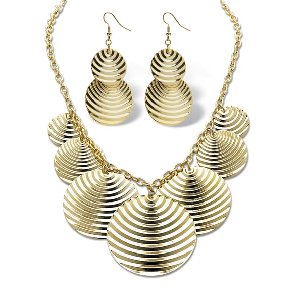 Textured Multi-Disk Bib Necklace and Drop Earrings Set in Yellow Gold Tone Bold Fashion