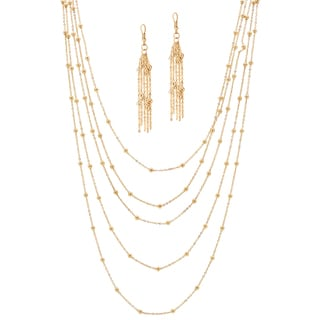 "PalmBeach 2 Piece Multi-Chain Beaded Station Necklace and Drop Earrings Set in Yellow Gold Tone 33"" Tailored"