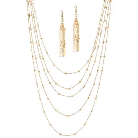 "Gold Tone Waterfall Necklace (9.5mm), 34"" plus 4"" extension"