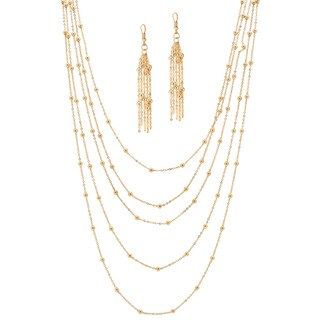 """Gold Tone Waterfall Necklace (9.5mm), 34"""" plus 4"""" extension"""