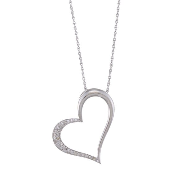 Sterling Silver 1/5ct TDW Diamond Heart Necklace (G-H, I1-I2)