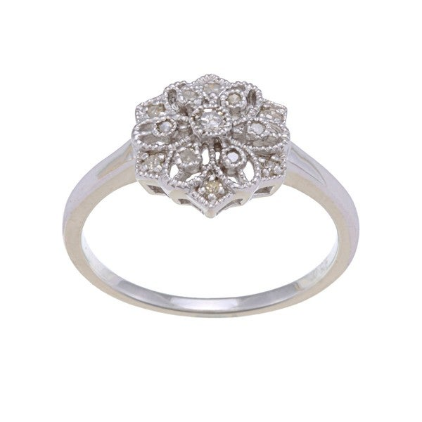Sterling Silver 1/6ct TDW Diamond Vintage Style Ring (G-H, I1-I2)