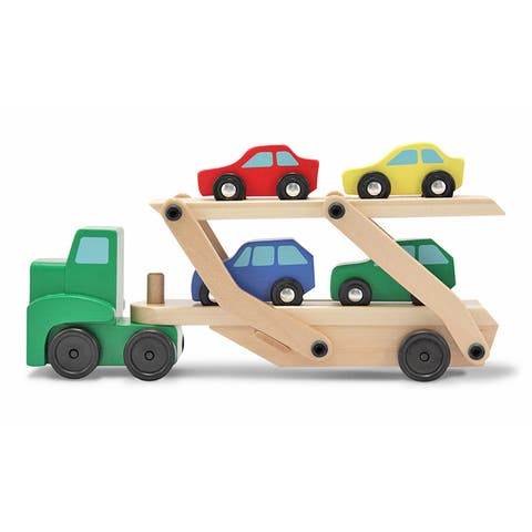 Melissa & Doug Car Carrier Truck & Cars Wooden Toy Set (Compatible with Wooden Train Tracks, Quality)