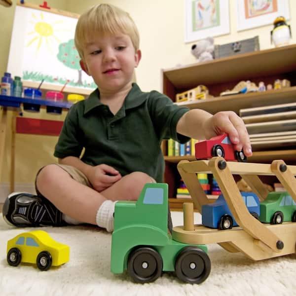 Shop Melissa Doug Car Carrier Truck Cars Wooden Toy Set