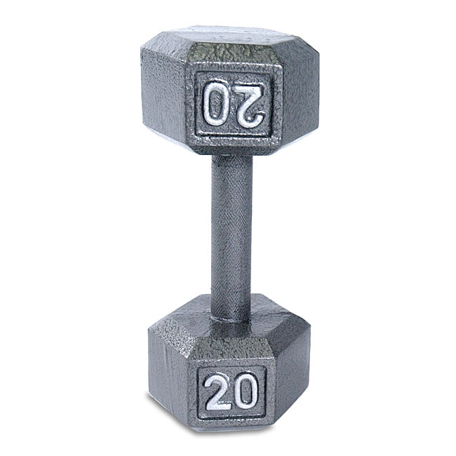 Cap Barbell 20 Lb Grey Cast Iron Hex Dumbbell Free