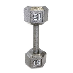 CAP Barbell 15 lb Grey Cast Iron Hex Dumbbell