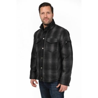 R & O Men's Black/ Grey Wool-blend Plaid Shirt Jacket