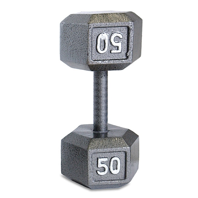 Cap Barbell 50 Lb Gray Semi Gloss Finished Cast Iron Hex