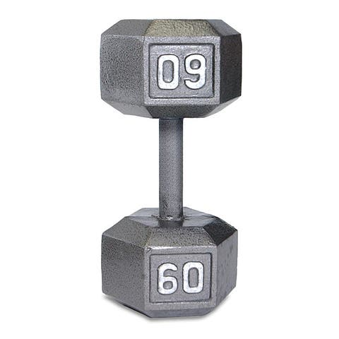 Durable CAP Barbell 60-pound Hex-shaped Gray Cast-iron Dumbbell - Silver