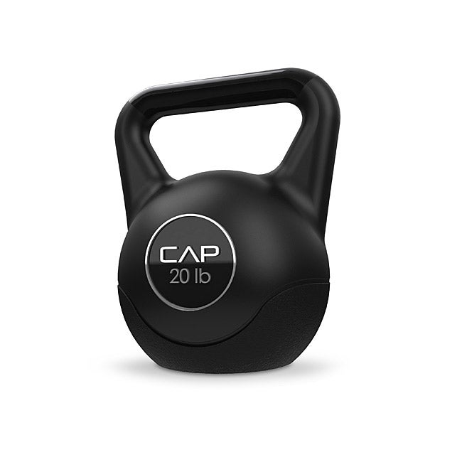 CAP Barbell 20-pound Core-strengthening Black Cement Kettlebell - Thumbnail 0