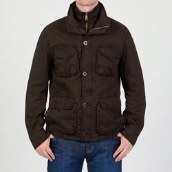 R & O Men's 'Ottoman' Brown Cotton Car Coat