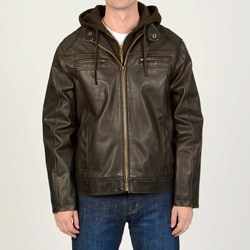 R & O Men's Brown Faux Leather Hoodie