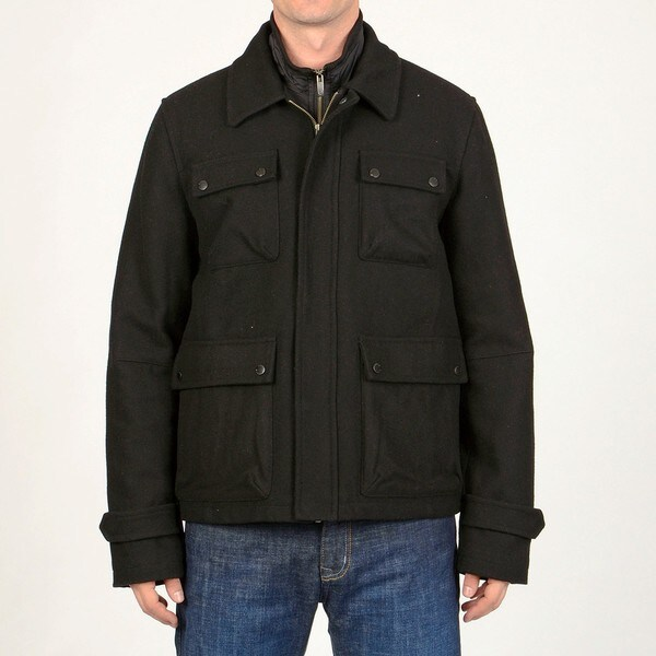 Chaps Men's Black Wool-blend 3-in-1 Jacket