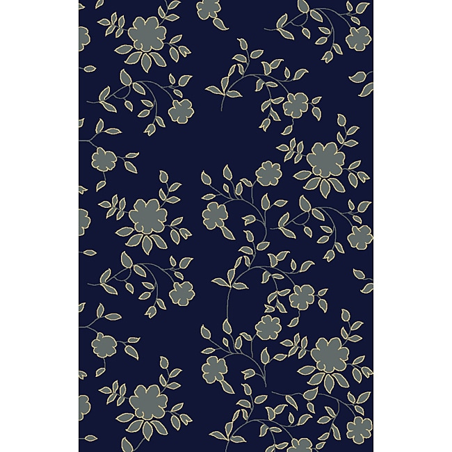 Admire Home Living Impressions Navy Blue Area Rug (5'5 x 7'7)