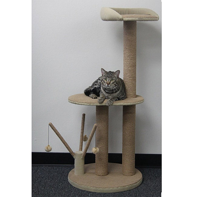 PetPals Go Green Three Level Cat Tower, Beige