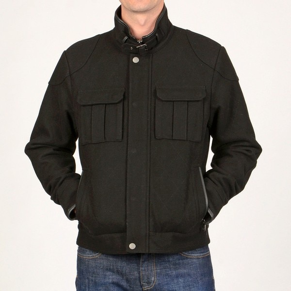 Chaps Men's Black Wool-blend Quilted Jacket