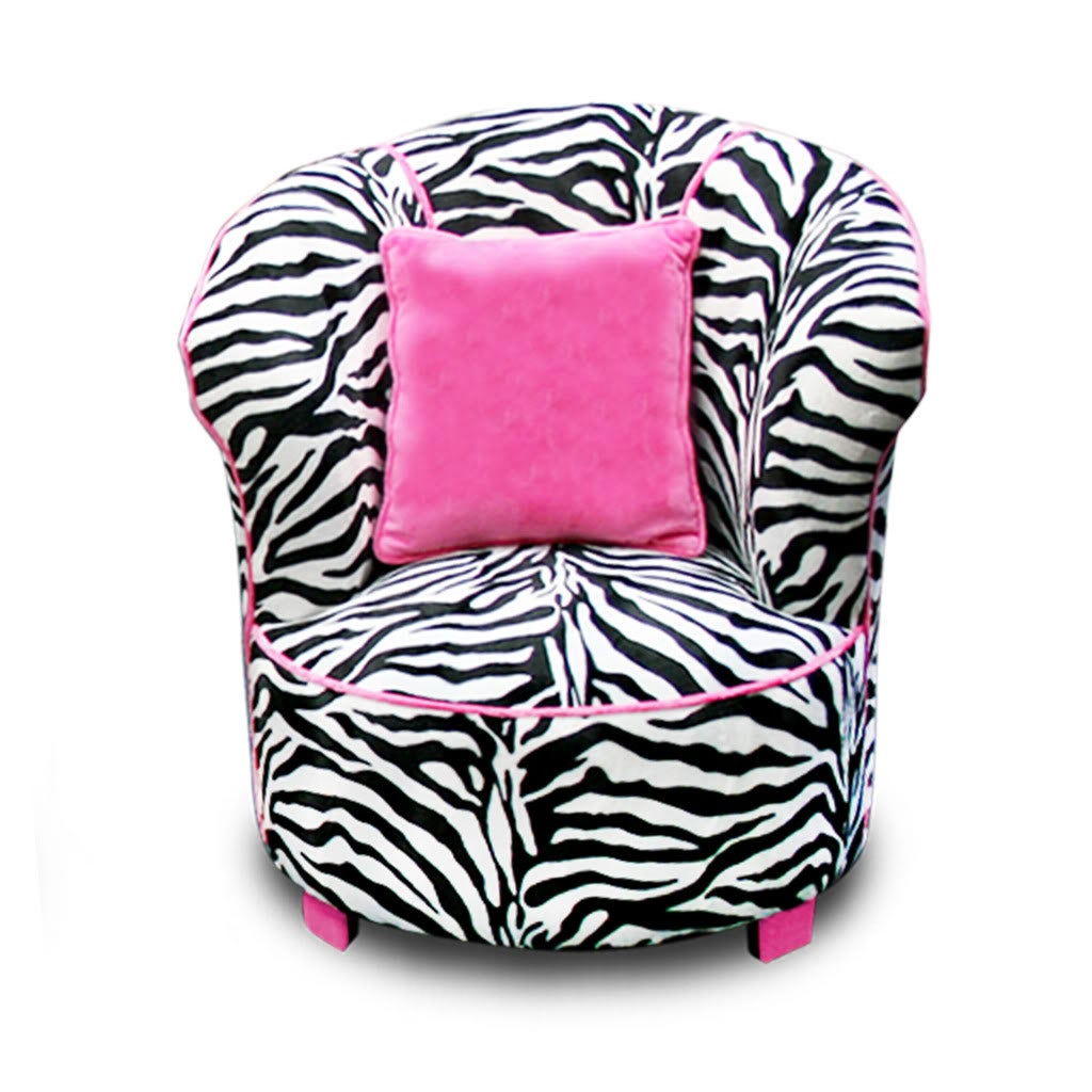 Magical Harmony Kids Minky Zebra Tulip Chair