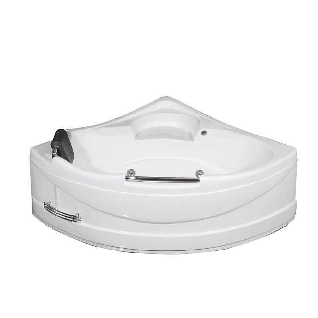 Aston 59 in x 59 in corner jetted whirlpool tub in white for Whirlpool garden tub