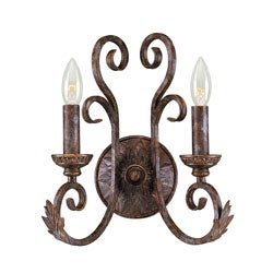 Medici Collection 2-light Oxide Bronze Finish Wall Sconce