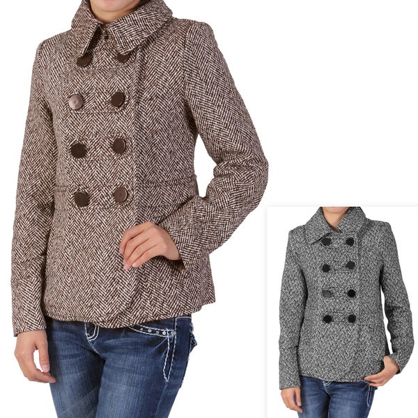Ci Sono by Journee Junior's Double-breasted Tweed Coat