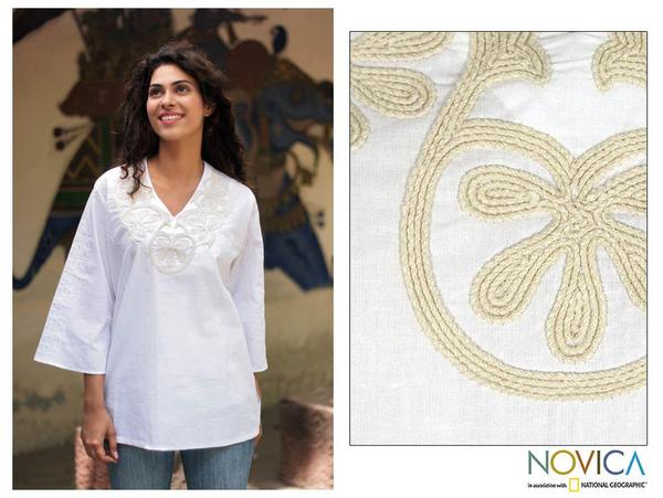 Cotton 'Radiant Cloud' Tunic (India)