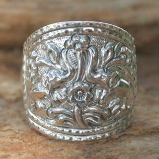 Handmade Sterling Silver 'Spring Elephants' Cocktail Ring (Thailand)