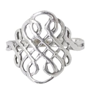 Handmade Sterling Silver Thistle Knot Cocktail Ring Thailand