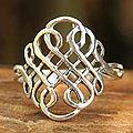 Handmade Sterling Silver 'Thistle Knot' Cocktail Ring (Thailand)
