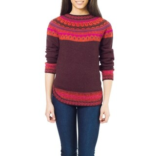 Handmade Multicolor Paradise Plum with Purple Pink Orange Fair Isle Borders 100-percent Alpaca Wool Round Neck Sweater (Peru)