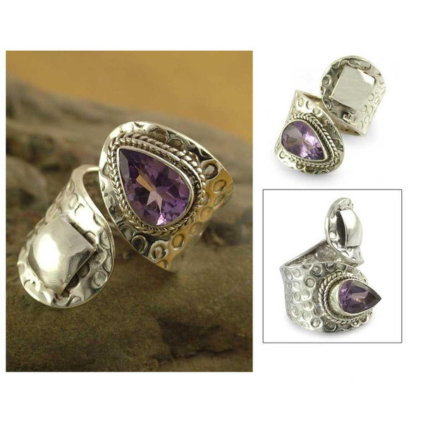 Handmade Sterling Silver 'Window' Amethyst Wrap Ring (India)