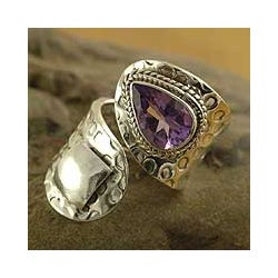 Handmade Sterling Silver 'Window' Amethyst Wrap Ring (India)