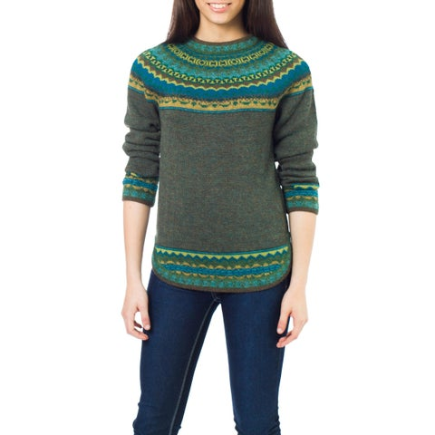 Handmade Inca Valley Olive Green with Turquoise Teal and Mustard Fair Isle Borders 100% Alpaca Wool Round Neck Sweater (Peru)