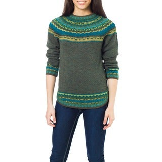 Inca Valley Olive Green with Turquoise Teal and Mustard Fair Isle Borders 100% Alpaca Wool Round Neck Womens Sweater (Peru)