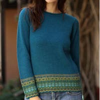 Handmade Inca Muse Teal with Turquoise Taupe and Yellow Fair Isle Borders 100% Alpaca Wool Round Neck Multicolor Sweater (Peru)