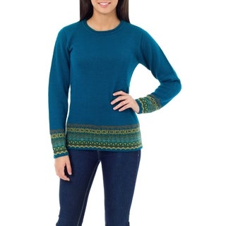 Handmade Inca Muse Teal with Turquoise Taupe and Yellow Fair Isle Borders Alpaca Wool Womens Sweater (Peru)