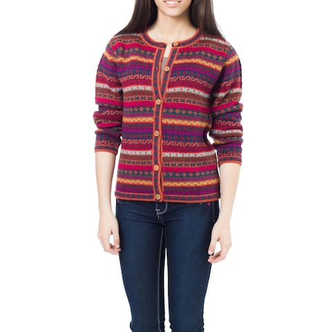 Handmade Be Bold Multicolor Stripe Purple 100-percent Alpaca Wool Fair Isle Pattern Womens Cardigan Sweater (Peru)