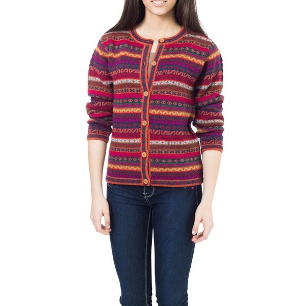 Be Bold Multicolor Stripe Purple Red Orange Green Blue 100-percent Alpaca Wool Fair Isle Pattern Womens Cardigan Sweater (Peru)