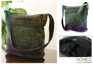 Handmade Bamboo Chenille 'Magic Forest' Medium Shoulder Bag (Guatemala)