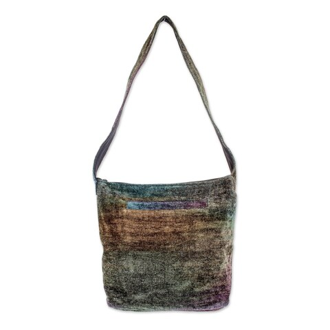 Handmade Rayon from Bamboo Chenille 'Magic Forest' Medium Shoulder Bag (Guatemala)