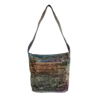 Handmade Rayon from Bamboo Chenille 'Magic Forest' Medium Shoulder Bag (Guatemala)