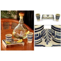 Set of 2 Majolica Ceramic 'Blue Agave' Tequila Glasses (Mexico)