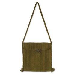 Handmade Wool 'Green Olive' Shoulder Bag (Mexico)