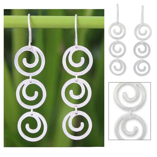 Handmade Sterling Silver 'Energy' Earrings (Thailand)