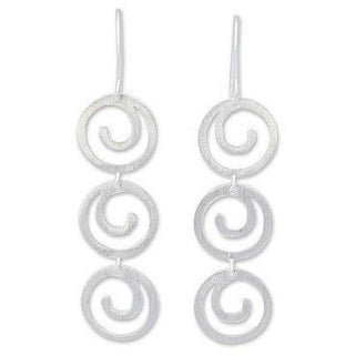 Handmade Sterling Silver 'Energy' Earrings (Thailand)