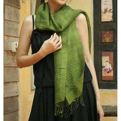 Silk 'Green Mint Supreme' Scarf (Thailand)