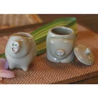 Handmade Set of 2 Ceramic 'Piggy Cheer' Sugar Bowl and Creamer (Thailand)