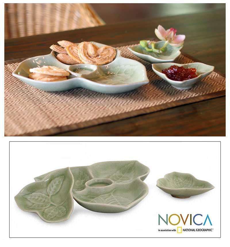 Handmade Set of 3 Celadon Ceramic 'Living Leaf' Plates (Thailand)