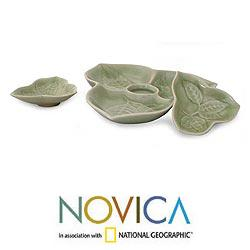 Handmade Set of 3 Celadon Ceramic 'Living Leaf' Plates (Thailand) - Thumbnail 1